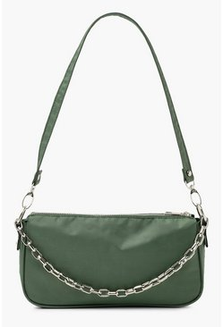 Khaki Nylon Chain Detail Shoulder Bag