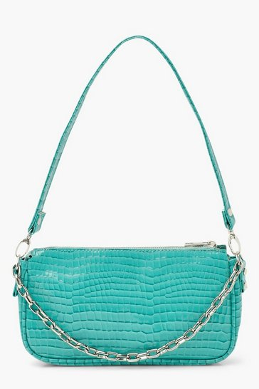 Teal green Chain Detail Croc Shoulder Bag