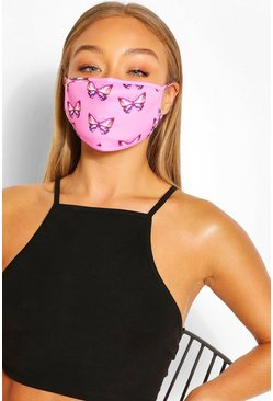 Pink Butterfly Fashion Face Mask