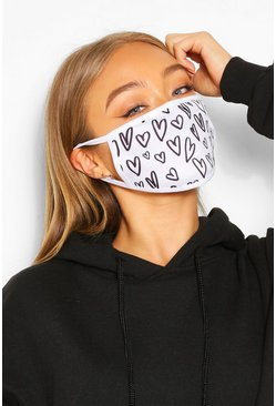 Heart Fashion Face Mask, White