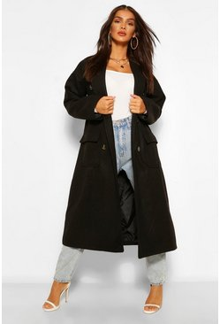 Black Double Breasted Belted Wool Look Coat