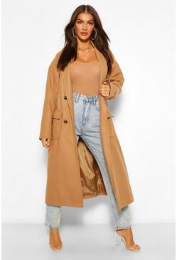 Camel beige Double Breasted Belted Wool Look Coat