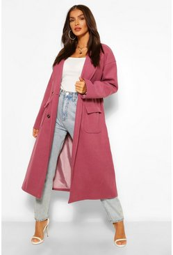 Plum purple Double Breasted Belted Wool Look Coat