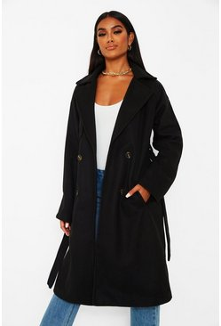 Black Wool look belted trench coat
