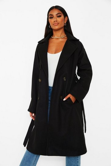 Wool Look Belted Trench Coat Boohoo, Ladies Black Wool Trench Coat Uk