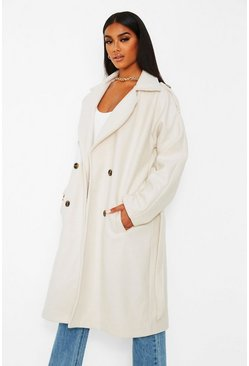 Ecru white Wool look belted trench coat