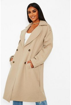 Stone beige Wool look belted trench coat