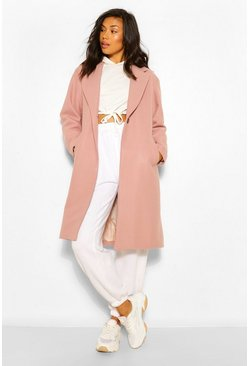 Dusky pink pink Luxe brushed wool look tailored coat