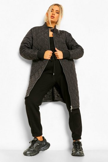 Black Longline Quilted Bomber Jacket