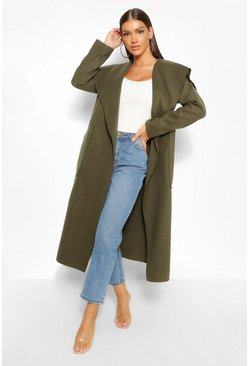 Khaki Maxi Waterfall Wool Look Coat