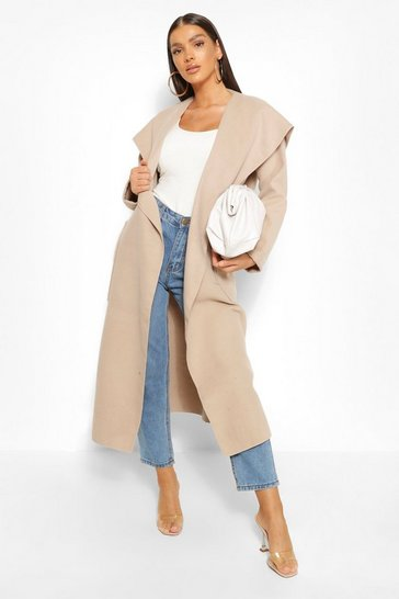 Stone Maxi Waterfall Wool Look Coat