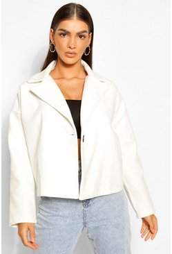 Ivory white Oversized Short Wool Look Coat