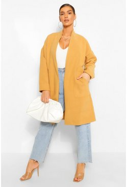 Camel beige Collarless Pocket Detail Wool Look Coat