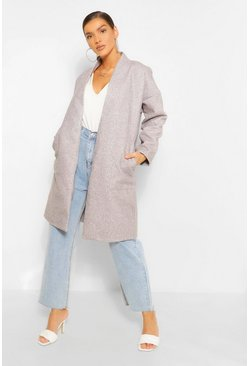 Grey Collarless Pocket Detail Wool Look Coat
