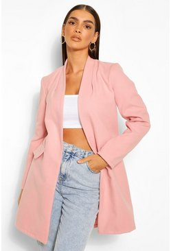 Pink Collarless Wool Look Coat