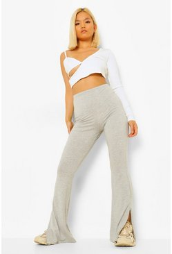 Grey Petite Basic Split Hem Flare