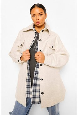 Oversized Belted Wool Look Shacket, Beige