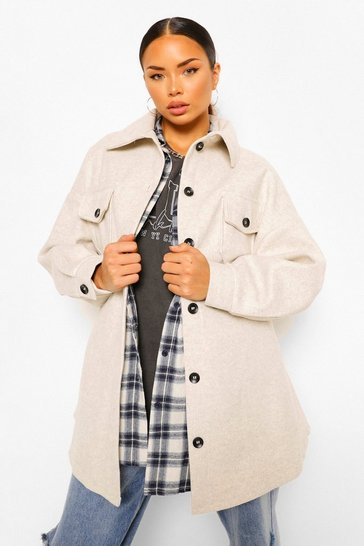 Beige Oversized Belted Wool Look Shacket