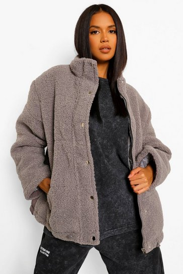 Grey Teddy Faux Fur Mix Oversized Puffer
