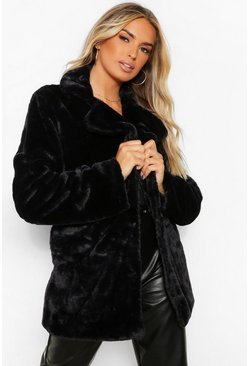 Black Collar Faux Fur Coat