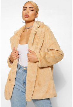 Natural beige Collar Faux Fur Coat