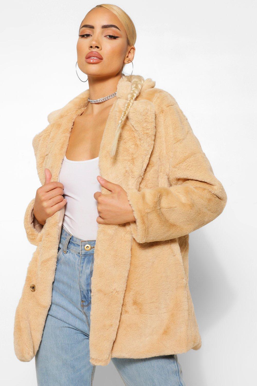 COATS & JACKETS Collar Faux Fur Coat