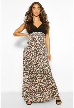 Multi 2In1 Wrap Neck Leopard Print Maxi Dress