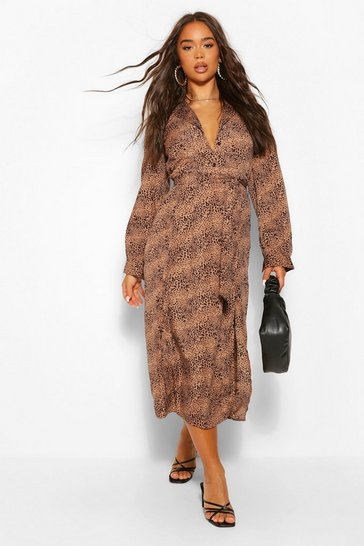 Multi Snake Tie Waist Midi Shirt Dress