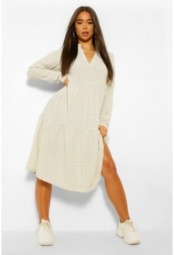 Multi Check Smock Dress
