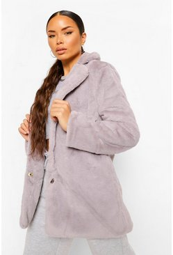 Grey Petite Collar Faux Fur Coat