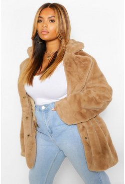 Natural beige Plus Collar Faux Fur Coat