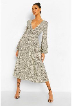 Multi Geo Spot Button Through Maxi Dress