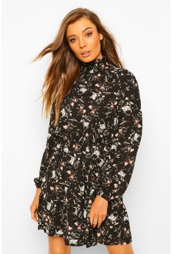 Black Floral Print High Neck Skater Dress