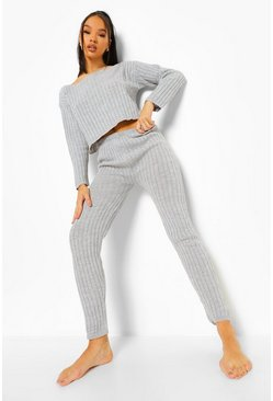 Grey Rib Knit Legging Loungeset