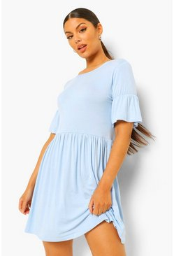Blue Smock Dress With Frill Sleeve