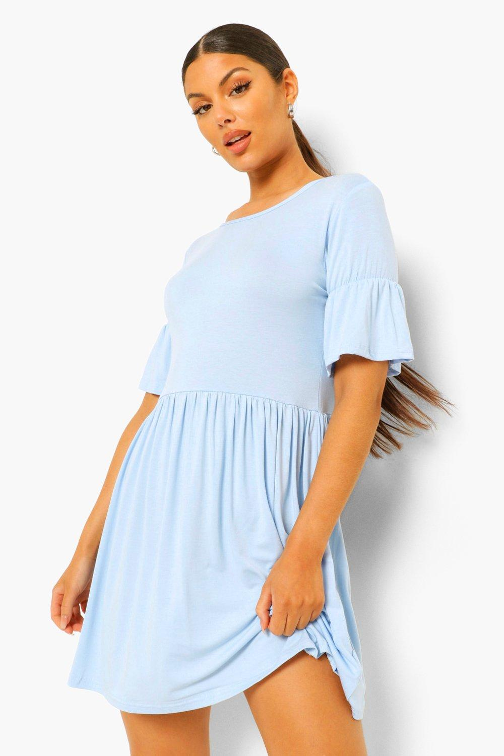 £10 & Under Smock Dress With Frill Sleeve