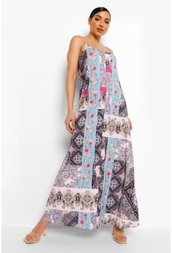 Blue Paisley Print Trapeze Maxi Dress