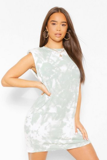 Green Tie Dye Shoulder Pad Dress In Sage