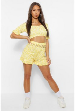 Yellow Ditsy Ruffle Crop and Shorts Co Ord