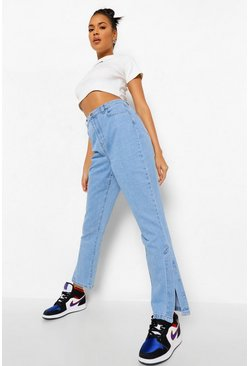 Denim-blue blue Side Split Mom Jean