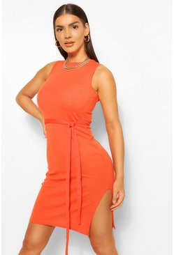 Orange Soft Ribbed Tie Midi Dress