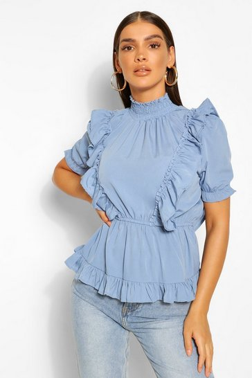 Blue High Neck Blouse With Ruffle Detail