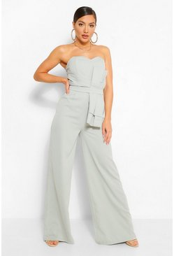 Green Strapless Jumpsuit Met Oversized Strik