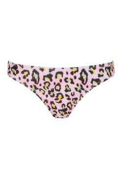Pink Bikini Bottoms In Animal Print
