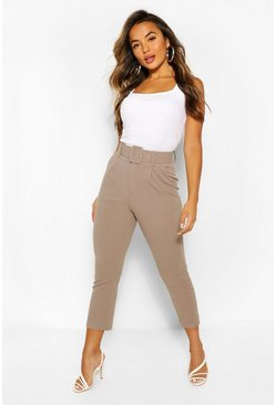 Mauve Petite Self Belt Tailored Trouser