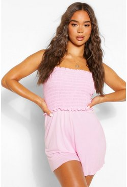 Pink Shirred Top Bandeau Playsuit