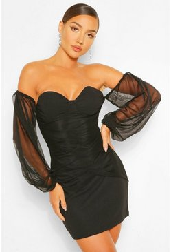 Black Mesh Off The Shoulder Bodycon Mini Dress