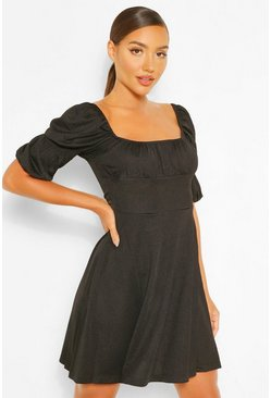 Black Puff Sleeve Rouched Bust Skater Dress