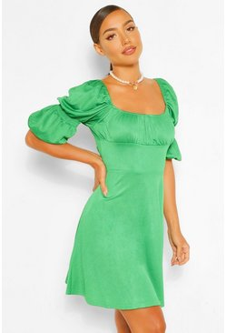 Green Puff Sleeve Rouched Bust Skater Dress