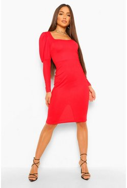 Red Scoop Neck Puff Sleeve Bodycon Midi Dress